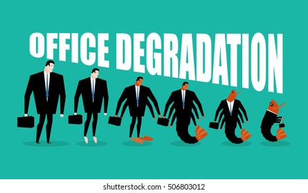 Office degradation. Manager turns into place of work plankton. Man transforms into shrimp. Marine crustaceans in dark suit. Business illustration