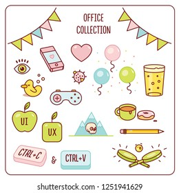 Office design cartoon icons holliday collection