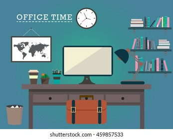 Office desk and accessory vector design illustration background