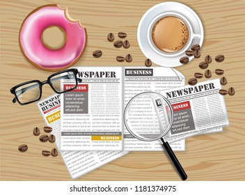 Office desk coffee, donut, newspaper and glasses Vector realistics