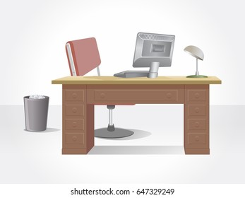 Office desk. Isolated office furniture.