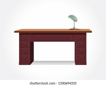Office desk with lamp. Isolated desk. Wood desk.