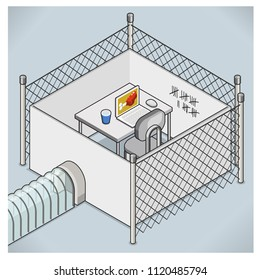 Office desk with laptop and mouse locked inside a fenced cage with high-security entrance (vector illustration, isometric view)