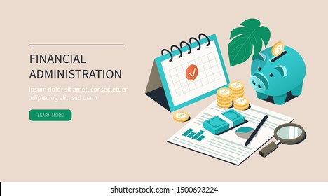 Office Desk with Piggy Bank, Money and Business Documents. Auditors Workplace. Calculating Payment, Salary or Taxes. Financial Administration Concept. Flat Isometric Vector Illustration.