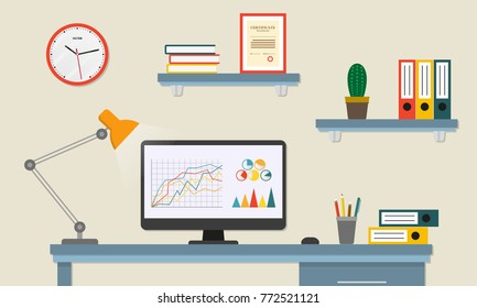 Office desk or table with computer. Business workspace or interior. Workplace in flat style. Vector illustration.