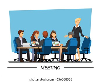 Office desk for team planning and working ,Vector illustration cartoon character.