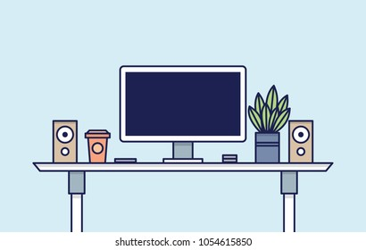 Office Desk Workspace. Vector illustration