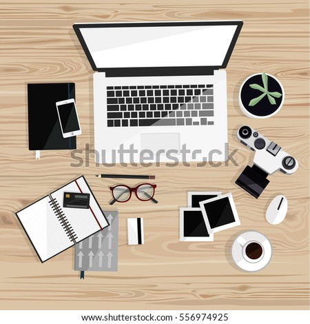 Office Desktop Isolated Laptop Camera Notebooks Stock Vector