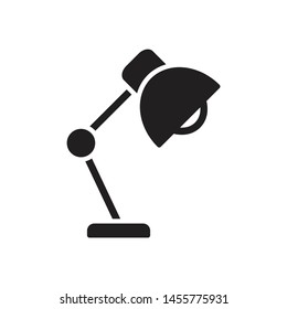 Office desktop lamp. Solid vector icon isolated on white background. Glyph modern symbol, for infographic, web or mobile design.