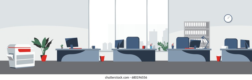 Office desktops background Vector. Workplace business style. Table and computers in an open space. Flat style illustrations