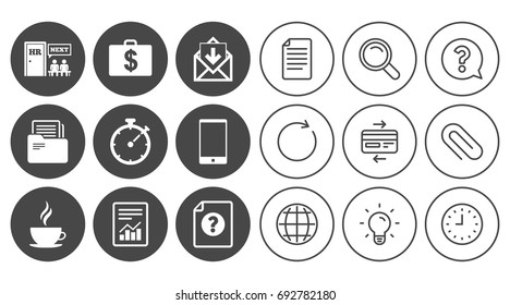 Office, documents and business icons. Accounting, human resources and phone signs. Mail, salary and statistics symbols. Document, Globe and Clock line signs. Lamp, Magnifier and Paper clip icons