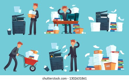 Office documents copier. Printed business papers, businessman broke printer and documents copy machine. Messy paper, paperwork document stack. Cartoon vector isolated icons illustration set