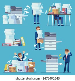 Office documents copier. Printer printing office papers, man with broken photocopier. Lot of paperwork and bureaucracy flat vector business unorganized working problems set