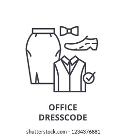 Office dresscode line icon concept. Office dresscode vector linear illustration, symbol, sign