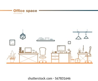 Office element set line art vector illustration. Isolated office tools collection. vector illustration