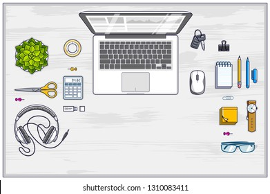 Office employee or entrepreneur work desk workplace with laptop computer and diverse stationery objects for work with copy space for text. All elements are easy to use separately. Vector.