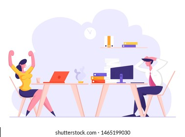 Office Employees at Workplace, Happy Woman Rejoice Finishing Job, Overloaded Male Employee Character Holding Head Stressed of Deadline and Paper Bureaucracy to do, Cartoon Flat Vector Illustration