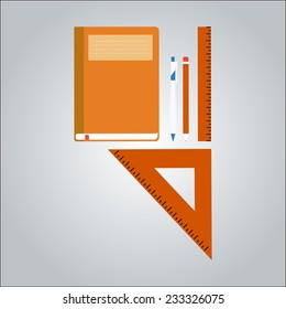 office equipment copybook, pen, pencil, ruler, isolated vector illustration