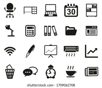 Office & Office Equipment Icons Black & White Set Big