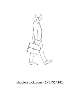 Office executive walking and holding briefcase line art. Man in suit carrying suitcase. CEO lifestyle. Career path. Businessman outline sign. Business linear icon concept. Worker vector illustration.