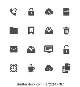 Office flat icons in gray. Set of 16 pieces.
