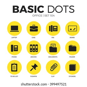Office flat icons set with laptop, clip and folder isolated vector illustration on white