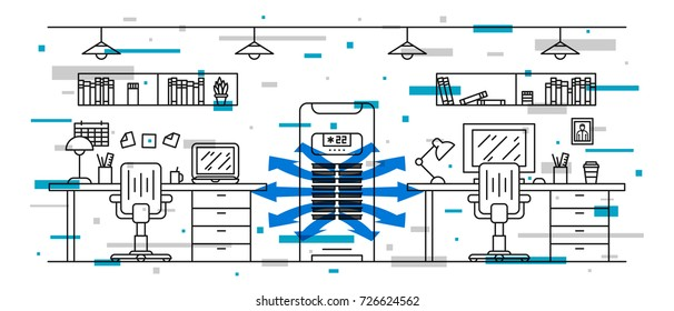 Office floor air conditioner vector illustration with decorative elements. Open space office room with vertical air conditioner (ac) line art concept.