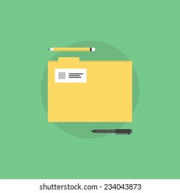 Office folder with stationary supplies and tools. Flat icon modern design style vector illustration concept.