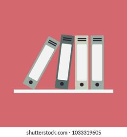office folders on shelf icon. Flat illustration of office folders on shelf vector icon for web. Binders.