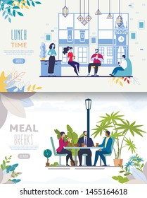 Office Food Delivery Service, Street Cafe, Restaurant of Coffeeshop Flat Vector Web Banner, Landing Page Template Set with Businesspeople Team, Company Employees Lunching in Cafeteria,Illustration