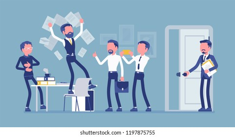 Office fun in the workplace. Colleagues, happy employees enjoy chaos at work, clerk humor and silly behavior, boss or manager angry with official misconduct. Vector illustration, faceless characters