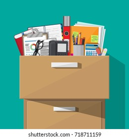Office furniture. Case, box with folders, document papers, contract, calculator, pen and pencils, eyeglasses, book, ring binder and phone. Cabinet, locker drawer Vector illustration in flat design