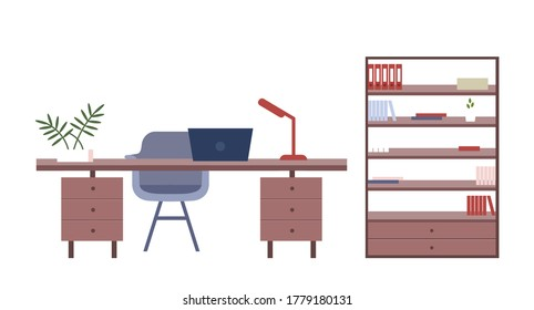 Office furniture flat color vector objects. Company employee, freelancer work place isolated cartoon illustration for web graphic design and animation. Desktop with laptop and bookcase with documents