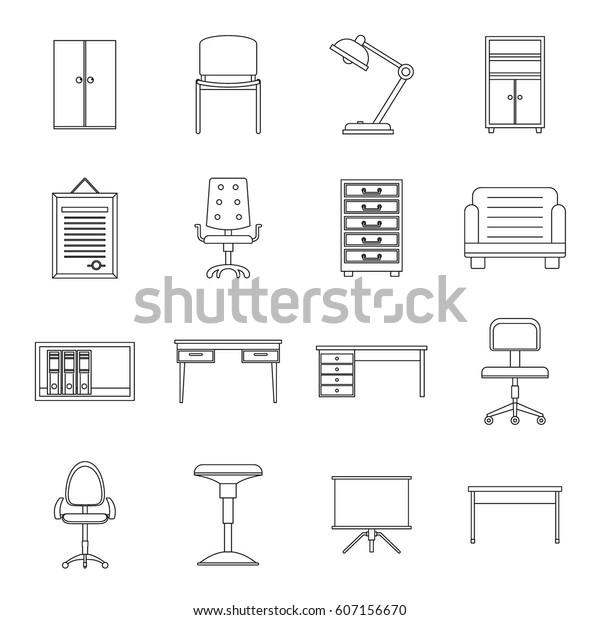 Cabinet Maker Clip Art: Office Furniture Icons Set Outline Illustration Stock