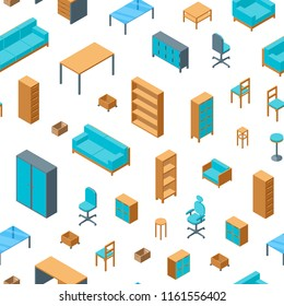 Office Furniture Seamless Pattern Background on a White Isometric View Include of Table, Chair, Sofa, Armchair and Shelf. Vector illustration