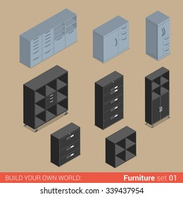 Office furniture set 01 cupboard shelf storage closet cabinet chest locker box element flat 3d isometry isometric concept web infographics vector illustration. Creative interior objects collection.