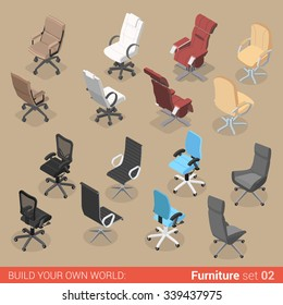 Office furniture set 02 chair seat armchair stool recliner lounge element flat 3d isometry isometric concept web infographics vector illustration. Creative interior objects collection.