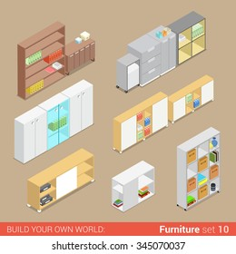 Office furniture set 10 cupboard folder shelf storage closet cabinet chest locker element flat 3d isometry isometric concept web infographics vector illustration. Creative interior objects collection.