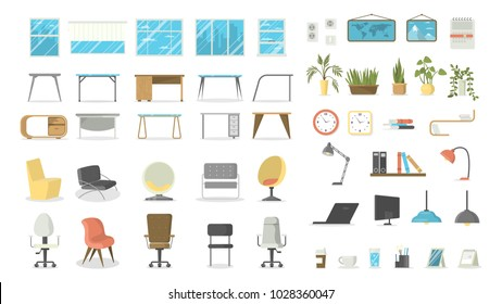 Office furniture set. Tables and chairs, windows and lamps.