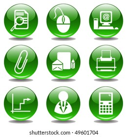 Office Glossy Buttons. Vector
