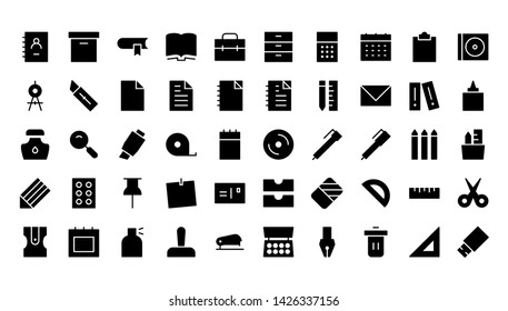 office glyph icon symbol set
