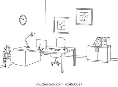 Office graphic black white interior sketch illustration vector