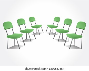 Office green chairs. Isolated chairs.