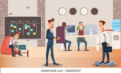 Office Group of Creative People Work Together. Modern Device in Coworking Center Laptop, Hover Board. Coworker in Casual and Formal Wear in Open Space Interior. Flat Cartoon Vector Illustration