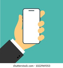 Office hand holds a smartphone in a flat style. Iphone X