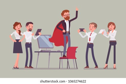 Office hero admired by colleagues for courage, outstanding business achievements, extraordinary sale, market powers, ideal manager in superhero cloak boasting. Vector flat style cartoon illustration
