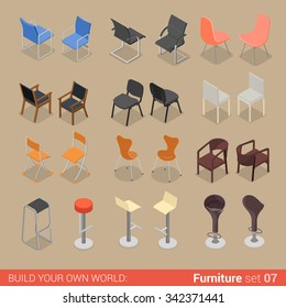 Office home bar restaurant furniture set 07 chair seat armchair stool lounge element flat 3d isometry isometric concept web infographics vector illustration. Creative interior objects collection.