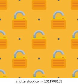 Office and home. Casual repeating flat Lock open icon background pattern. Design for wrapping paper or greeting card.