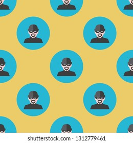 Office and home. Casual repeating flat Burglar icon background pattern. Design for wrapping paper or greeting card.