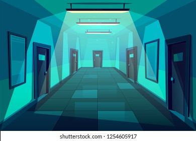 Office, hotel or condominium empty corridor or hall at night time cartoon vector background with signed plates on identical doors, tile on floor and lamps with cold light on ceiling illustration
